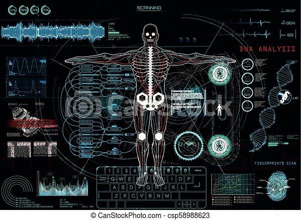tête, exposer, app, haut, (hud), ui, monde médical - csp58988623