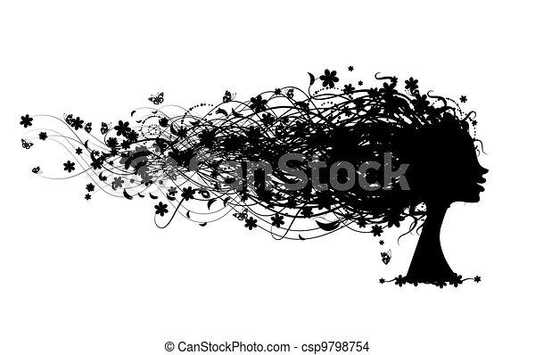 tête, femme, coiffure, conception, floral, ton - csp9798754