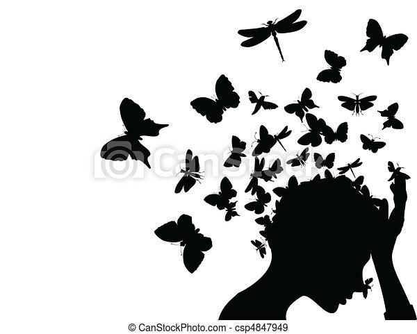 tête, illustration, papillons, vecteur, prendre, girl, fermé. - csp4847949