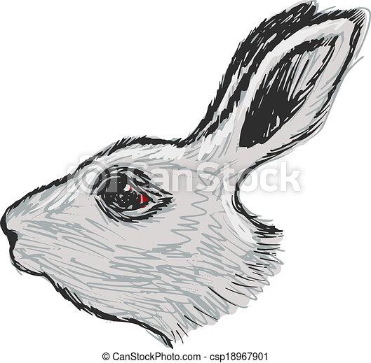T te lapin croquis illustration main lapin dessin - Dessin tete de profil ...
