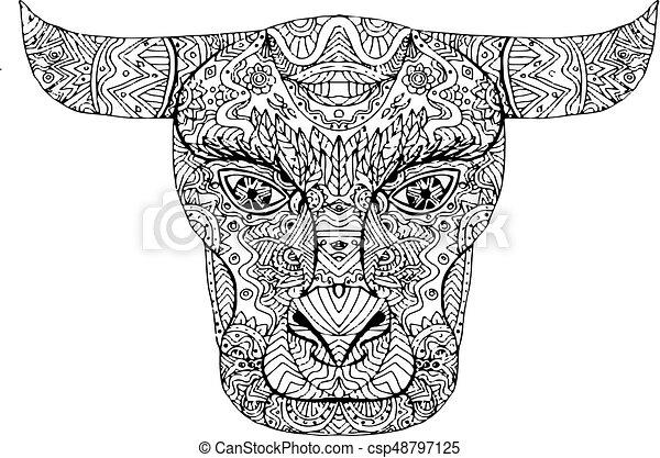 T te mandala taureau taureau t te croquis illustration dessin fait taureau taureau - Dessin tete taureau ...