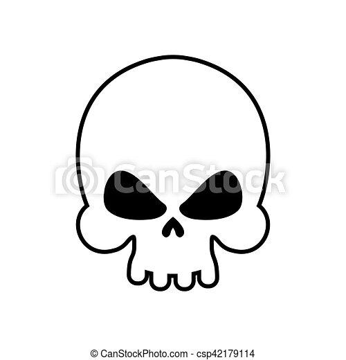 Tête Mort Squelette Crâne Isolated Symbole Arrière Plan Blanc
