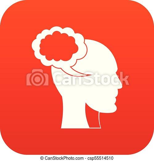 tête, parole, humain, numérique, bulle, rouges, icône - csp55514510