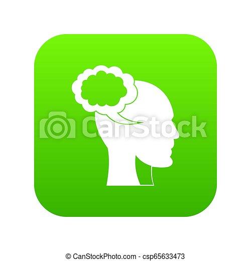 tête, parole, humain, numérique, vert, bulle, icône - csp65633473