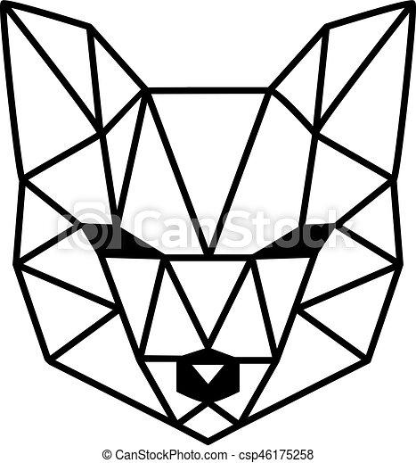 polygonal t te renard blanc isol clipart vectoriel rechercher illustration dessins et. Black Bedroom Furniture Sets. Home Design Ideas