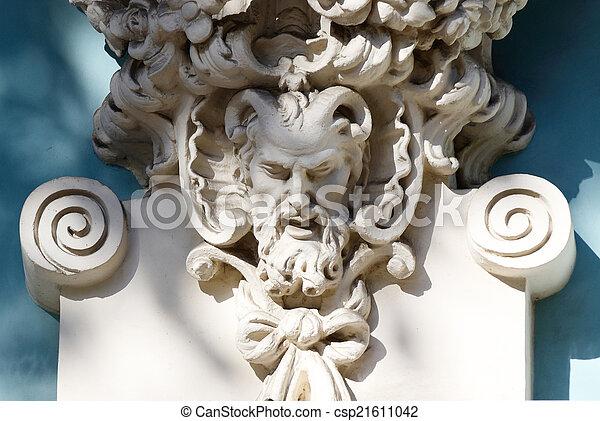 Tête, satyre, maison, cornu, décoration, mythologie grecque ...