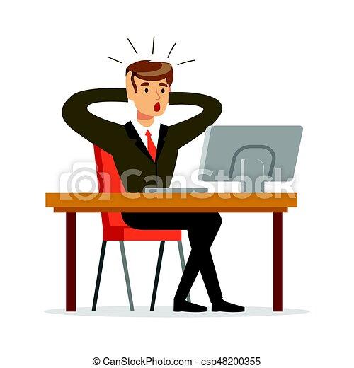 tête, sien, bureau, fonctionnement, deux, illustration, quoique, vecteur, tenant mains, homme affaires - csp48200355