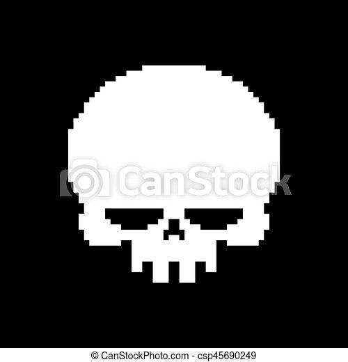 Tête Squelette Crâne Isolé Pixelated Fond Blanc Pixel Art