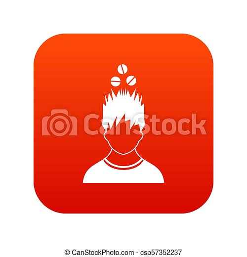 tête, sur, tablettes, numérique, icône, rouges, homme - csp57352237