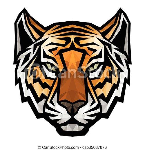 T te tigre fond logo blanc mascotte t te tigre - Image tete de tigre ...