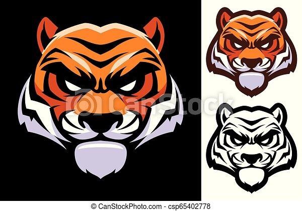 tête tigre, mascotte - csp65402778