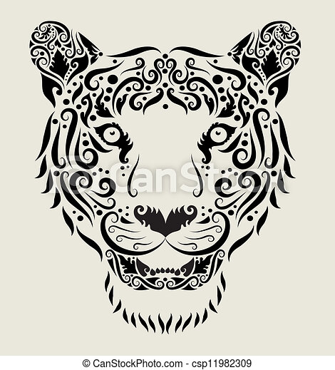 T te tigre ornement tatouage usage animal diter decoration ornement dessin boucle ou - Tete de tigre dessin facile ...
