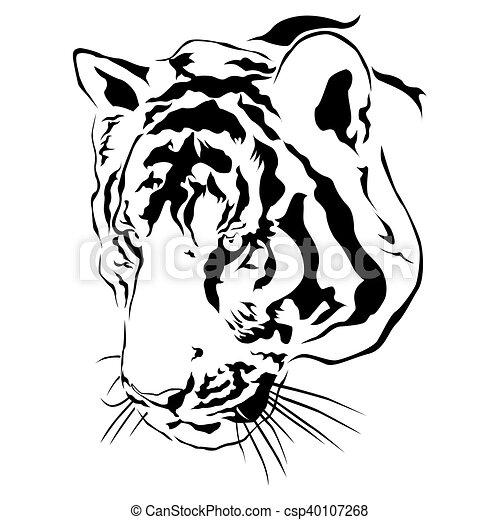 Tête Tigre Vecteur Noir Blanc Tête Eps10 Tigre Vecteur
