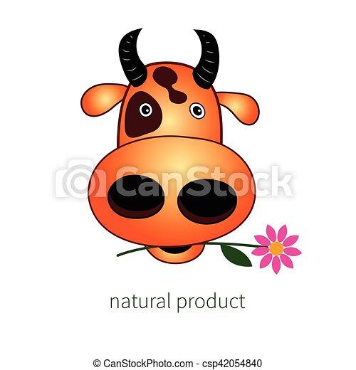 Tete Vache Rigolote Tete Vecteur Cow Flower Caractere Beef