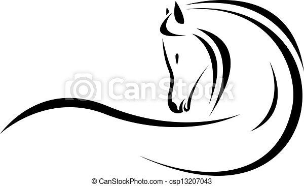 tête, vecteur, cheval - csp13207043