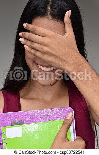 tímido, bastante, estudiante femenino - csp60722541