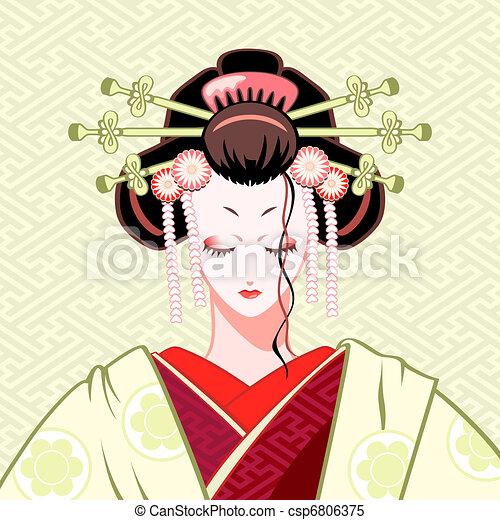 tímido, geisha - csp6806375