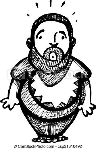 tímido, hombre gordo - csp31610492