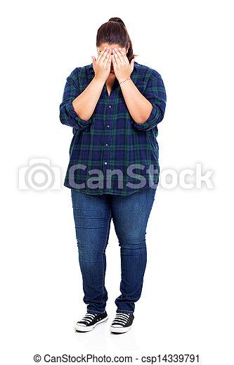 tímido, mujer, más, tamaño - csp14339791