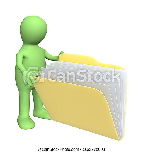 Puppet, abriendo carpetas con documentos - csp3778003