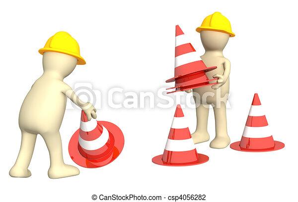 3d títeres con conos de emergencia - csp4056282
