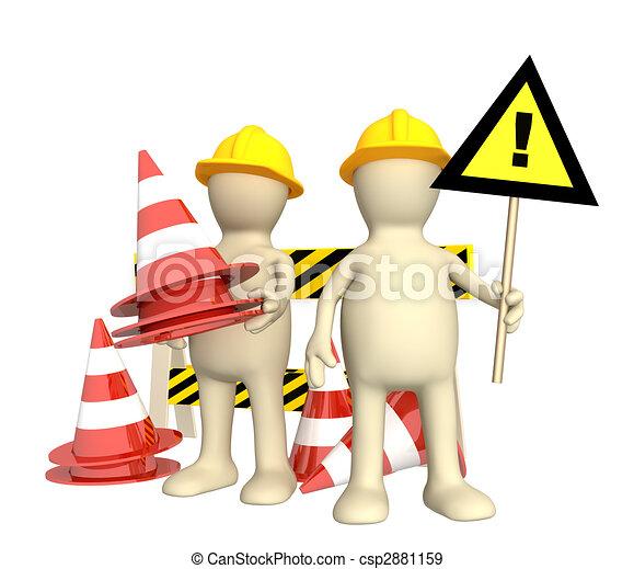 títeres, conos, emergencia, 3d - csp2881159
