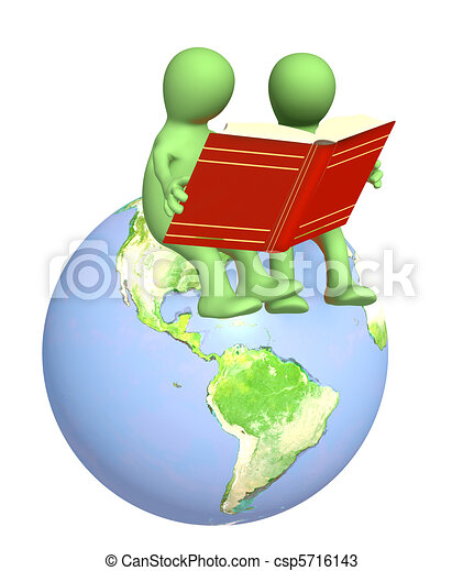 marionetas 3D, leyendo los libros - csp5716143