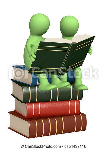 títeres, libros, lectura, 3d - csp4437116