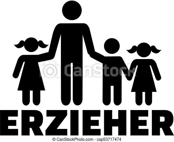 título, alemão, trabalhador, trabalho, childcare, ícone - csp53717474