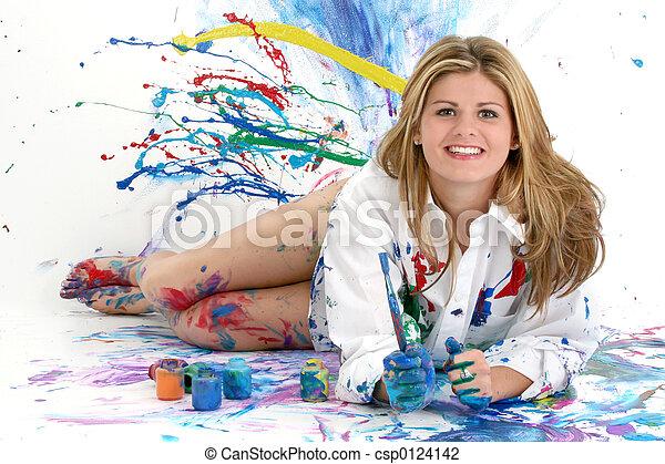 tízenéves kor, nő, festmény - csp0124142