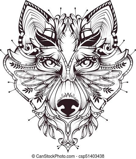 Abstract Hundekopf-Tattoo Illustration - csp51403438