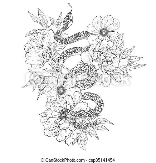 T�towierung, färbung, schlangen, books., flowers., kunst ...