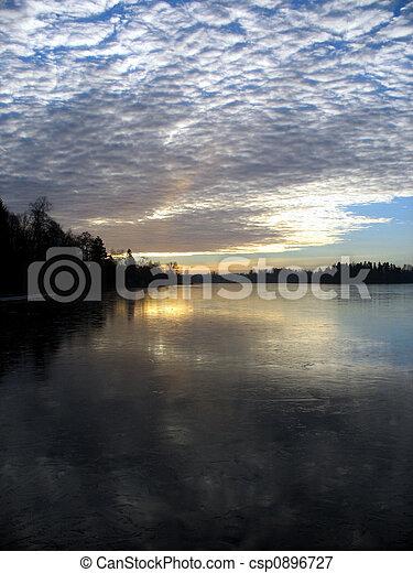 tôt, hiver, levers de soleil, matin - csp0896727