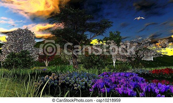 tôt, printemps, verger, temps - csp10218959