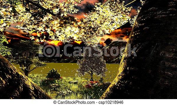 tôt, printemps, verger, temps - csp10218946