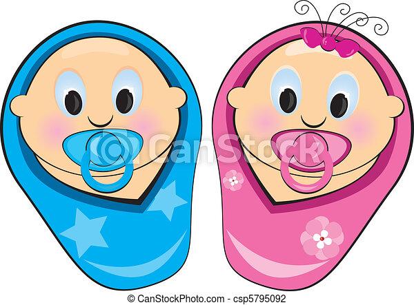 Illustration Baby Boy, Mädchen - csp5795092