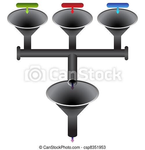 tölcsér, rendszer, diagram - csp8351953