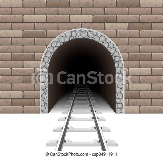 túnel, estrada ferro, vetorial, ilustração - csp34911911