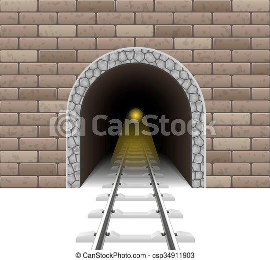 túnel, estrada ferro, vetorial, ilustração - csp34911903