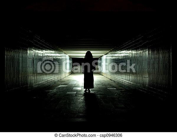 túnel, luz, fim - csp0946306