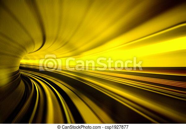 túnel, trem, em movimento, rapidamente - csp1927877