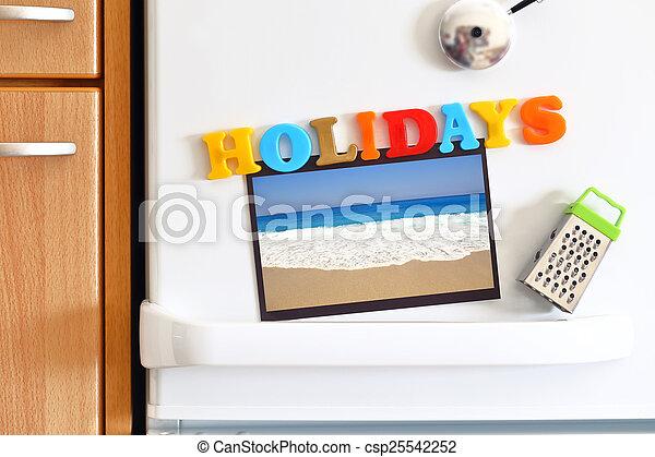 Tür, bunte, kühlschränke, text, feiertage, foto, sandstrand ...