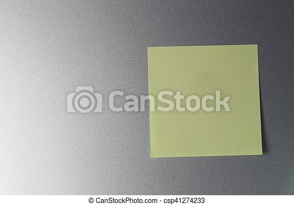 Kühlschrank Design : Tür gelber papier leerer blatt kühlschrank design begriff