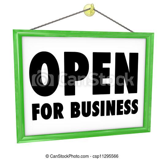 Offen für Geschäftszeichen hängen Fenstertür - csp11295566