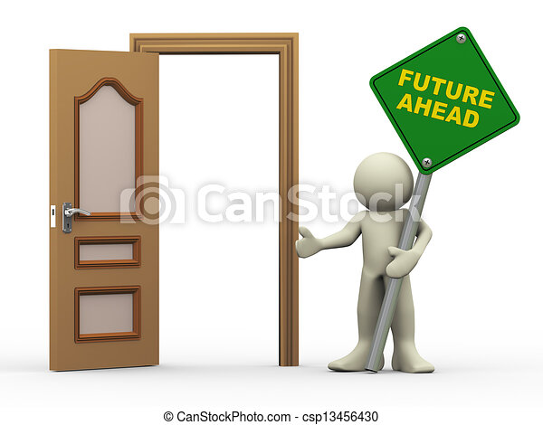 3D-Mann, Tür öffnen und Zukunft vorzeigen - csp13456430