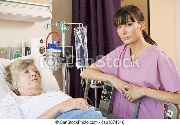 türelmes, átvizsgálás, kórház, feláll, ágy, ápoló, fekvő - csp1874516