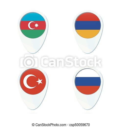 Aserbaidschan Armenien Russland Truthahn Flagge Karten Ikone Aserbaidschan Flagge Armenien Flagge Russische Flagge Canstock
