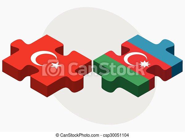 Turkei Und Aserbaidschan Flaggen Turkei Und Aserbaidschan Flags In Puzzle Isoliert Auf Weissem Hintergrund