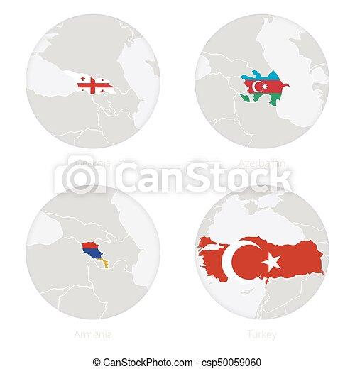 Georgien Aserbaidschan Armenien Turkei Karte Kontur Und Nationale Flagge In Einem Kreis Vector Illustration