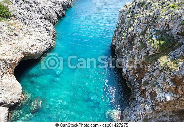 türkis, grotte, ciolo, -, leuca, wasser, apulia - csp61427275